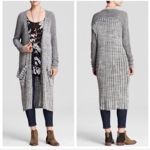Free People Shadow Stripe Long Cardigan Duster